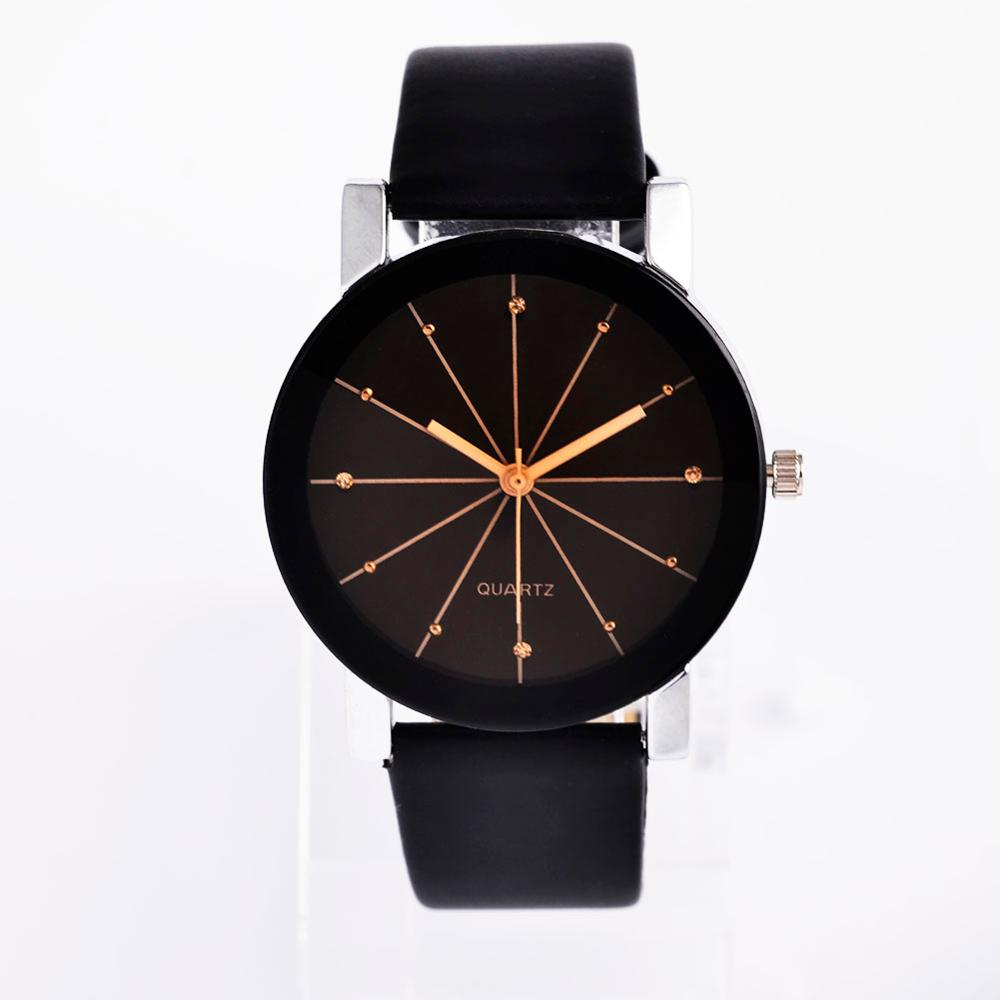 Line Design Leather Band Fashion Couple's Watches Korean Style Ladies Clock Men's Watches Quartz Wrist Watch Erkek Kol Saati