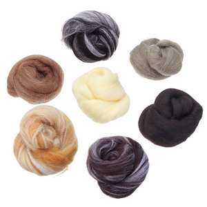 7PCS 35g Felting Wool Fiber Needle Felting Natural Collection For Animal Projects Felting Wool for Needlework Mixed Color