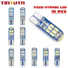 10 adet W5W T10 LED T10 LED stroboskop flaş LED 194 168 W5W silika jel 15SMD Led park ampul oto kama gümrükleme LampCANBUS Silic