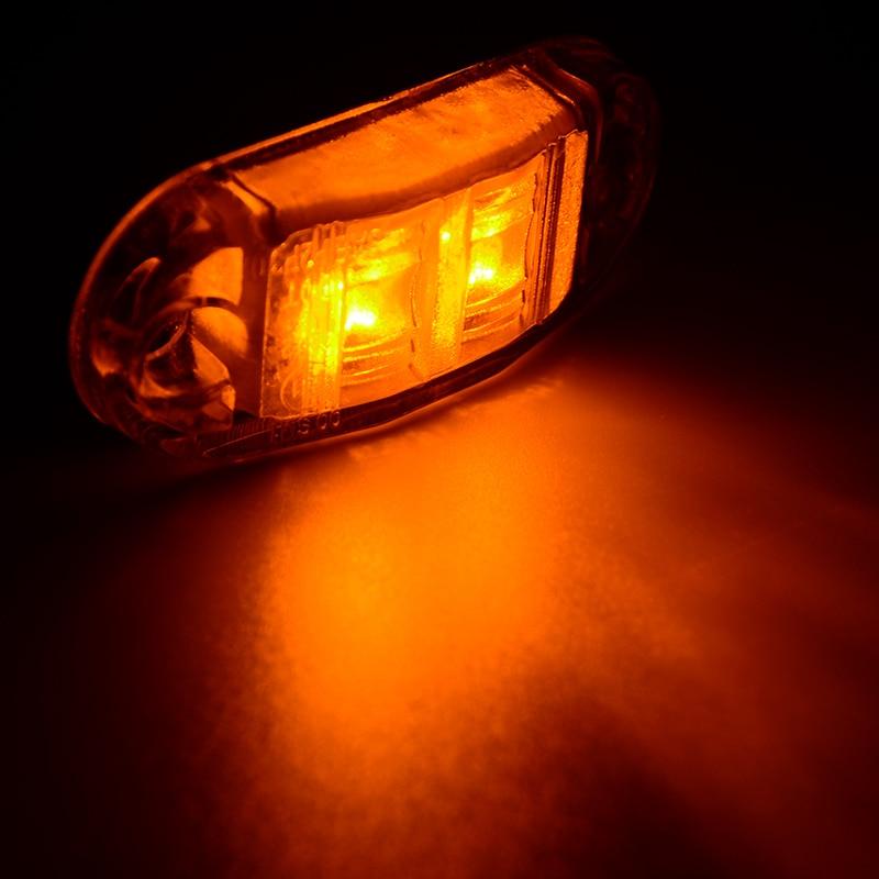 10Pcs 10V-30V LED Car Side Marker Tail Light Amber 10V-30V Trailer Truck Lamp Car Bus Truck External Lights New