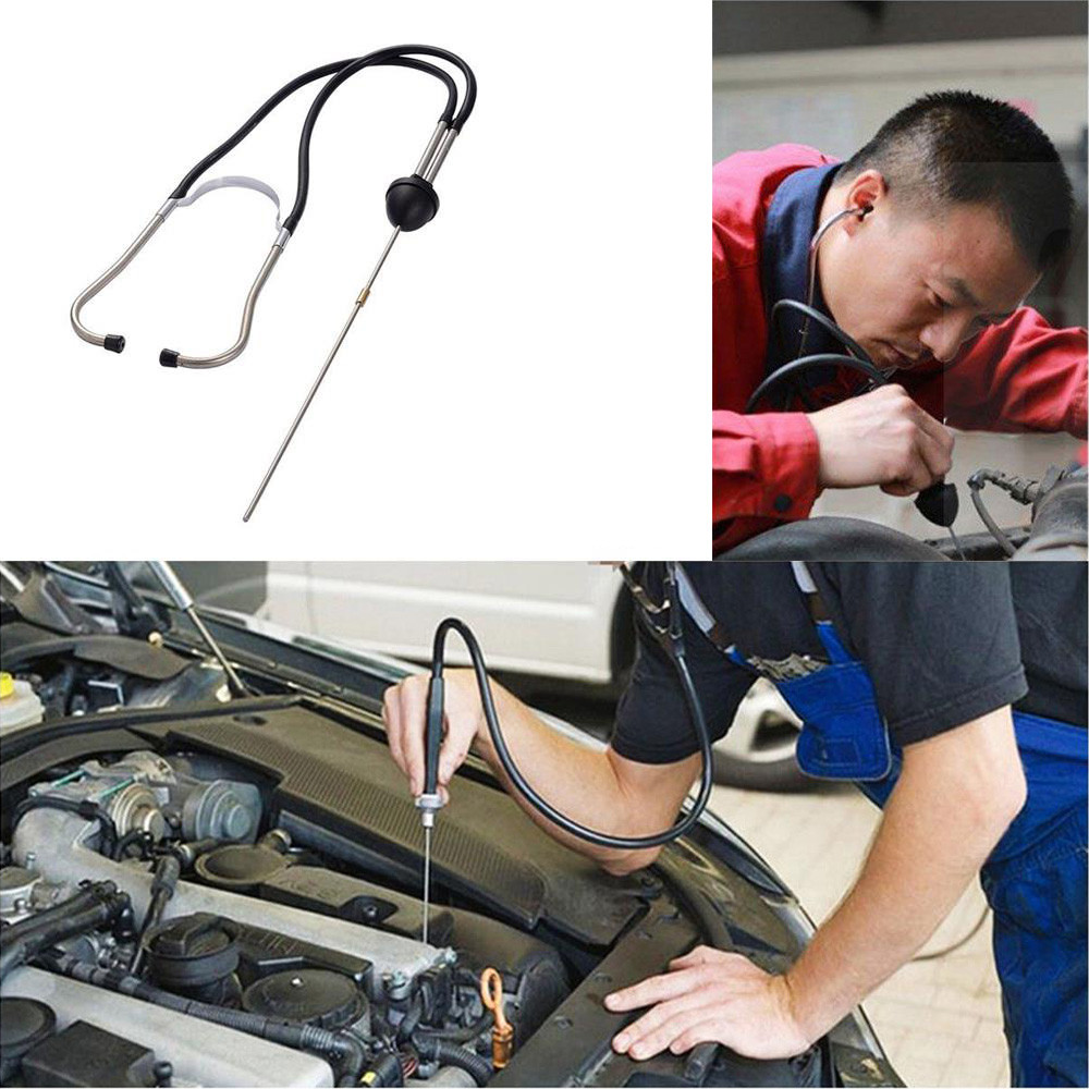22.5 + 7CM Mechanical Cylinder Stethoscope Automobile Engine Cylinder Diagnosis Automobile Hearing Aid Durable Chrome Steel