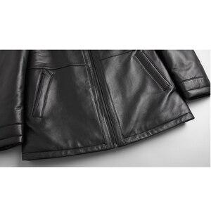 Image 5 - DK الطبيعية فرو منك ملابس الرجال متوسطة طويلة شتاء دافئ جلد طبيعي أسود سليم جلد الغنم سترات من الجلد