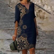 Women Elegant Geometric Print Midi Dress Summer Vintage Half Sleeve V Neck Silm Dress Lady Boho A-line Plus Size Beach Dresses