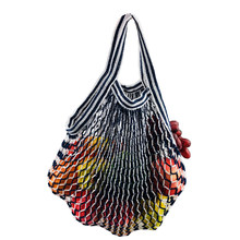 Eco Reusable grocery tote mesh shopping bag cotton net bag with short handle(China)