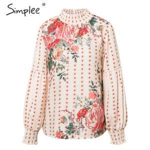 Image 5 - Simplee אתני סגנון פרחוני הדפסת נשים חולצה קפלים צב צוואר לנטרן שרוול שיפון חולצה אלגנטית שיק גבירותיי חולצות חולצות