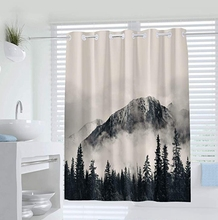 National Parks Home Decor Shower Curtain by, Canadian Smokey Mountain Cliff Outdoor Idyllic Photo Art, Fabric Bathroom Set