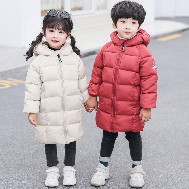 Children's Cotton Suit Long Section Winter Children's Boys And Girls Children's Wear Down Coat Thick Warm Cotton Jacket 2019 New