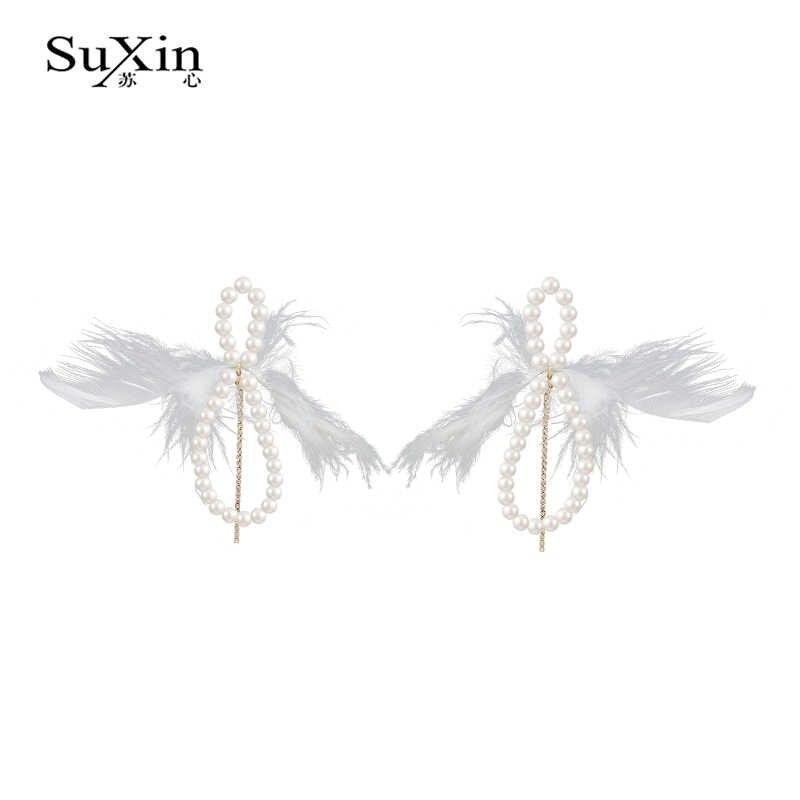 Suxin แฟชั่น Pearl จี้ต่างหูสำหรับผู้หญิง Vogue Pearl Charm เครื่องประดับหญิงต่างหู 2019
