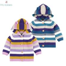 Newborn baby girls clothes Children Rainbow Stripe jackets f
