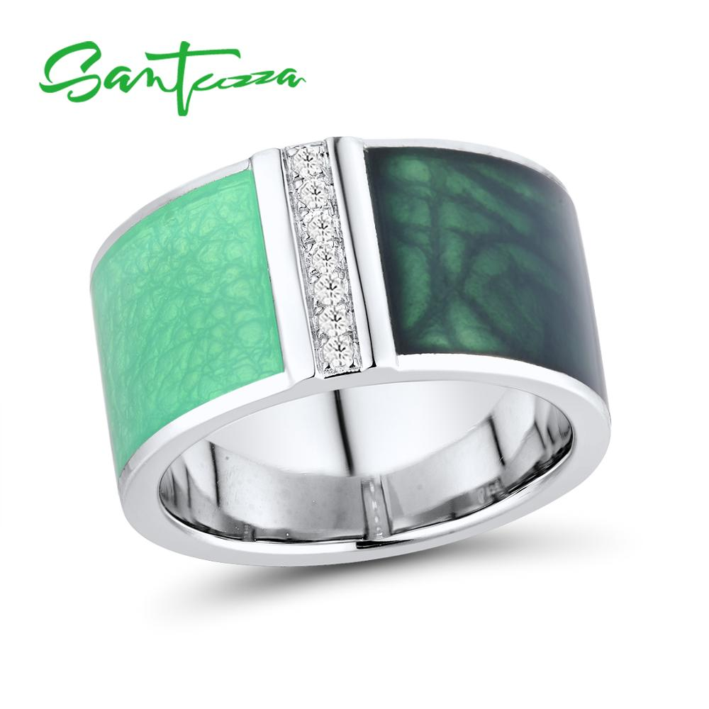 SANTUZZA Silver Rings For Women Genuine 925 Sterling Silver Green Geometric Sparkling CZ Trendy Fine Jewelry Handmade Enamel