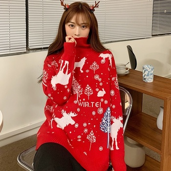 Women Turtleneck Sweater Fashion 2021 Winter Warm Oversized New Year Sweaters Pullovers Xmas Deer Printed Red Christmas Jumper christmas snowflake patterned tunic turtleneck sweater