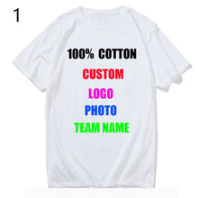 100% Cotton Customized Print T Shirt Women/men DIY Your Like Photo or Logo White Tees Shirts T-Shirt Fashion Men's Custom Tshirt(China)