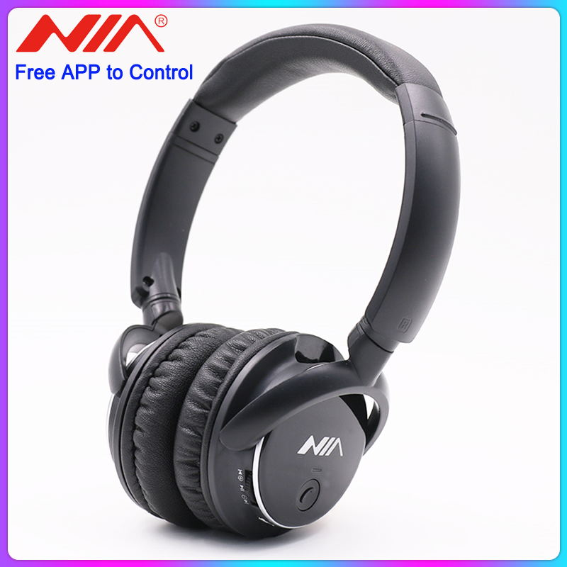 NIA Q1 Over-Ear Bluetooth Wireless Headphones with APP Control Micro SD/TF Card FM Radio Audio Input for PC Cellphones Gaming image