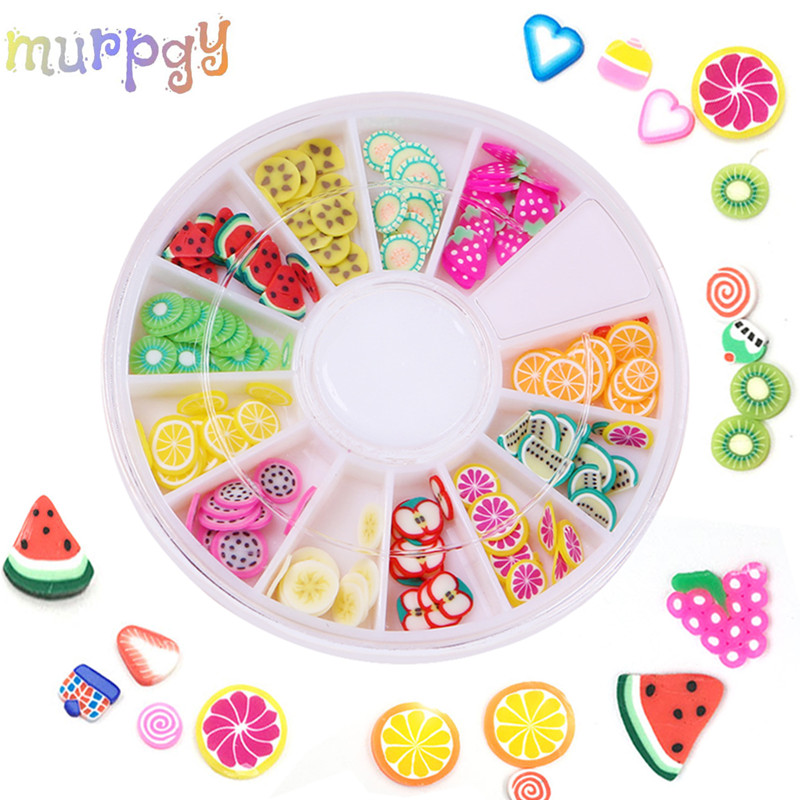 12 Style Slime Addition Soft Fimo Slices Slide For Crystal Clear Slime DIY Nail Mobile Beauty Powder In Slime Supplies Sprinkles
