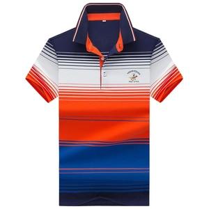 Image 5 - 夏新男性ポロシャツ高品質のブランドの綿半袖メンズポロシャツビジネスカジュアルストライプシャツポロ男性トップス