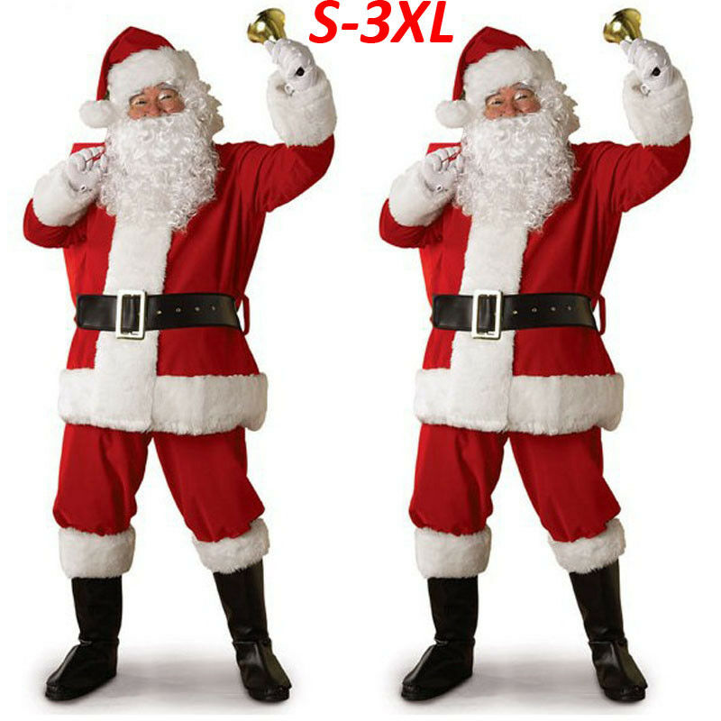 2019 Adult Santa Claus Costume Suit Plush Father Fancy Clothes Xmas Cosplay Props Men Coat Pants Beard Belt Hat Christmas Set