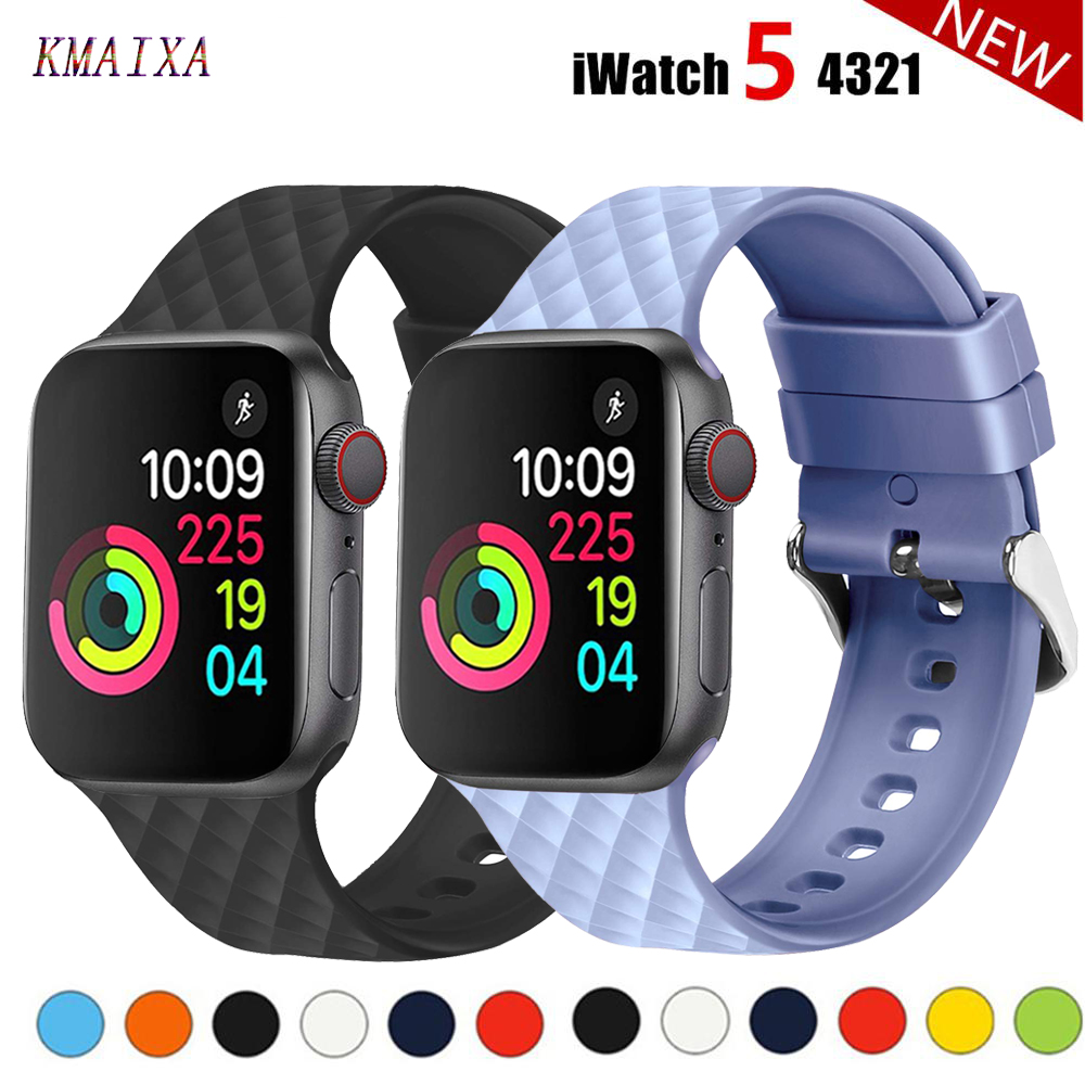 Silicone Strap For Apple Watch 5 Band 44mm 40mm Iwatch Band 38mm 42mm Rhombic Pattern Pulseira Watchband Apple Watch 4 3 2 1 38