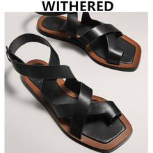 Flat Sandals Women Shoes Retro England Woman Genuine-Cowhide Simple
