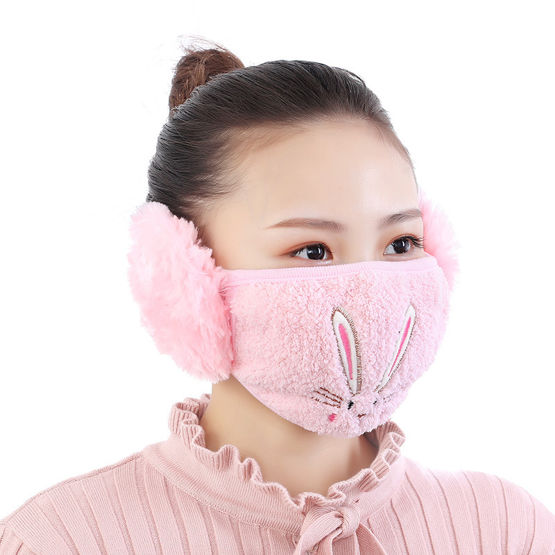 Rabbit Face Mask With Earmuff Fashion Women Bunny Mouth-muffle Warm Mouth Masks Anti Haze Cotton Masks With Ear Cold Protection