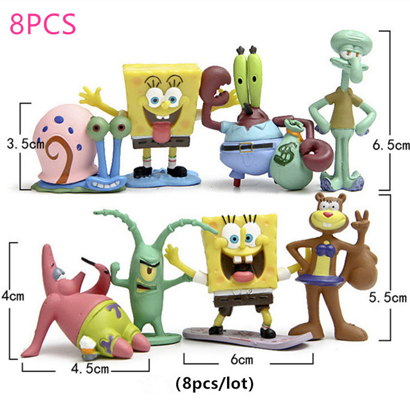 6/8pcs Cartoon SpongeBob Plush Toys Patrick Star & Squidward Tentacles & Eugene & Sheldon & Gary Stuffed Cute Doll For Kids Gift