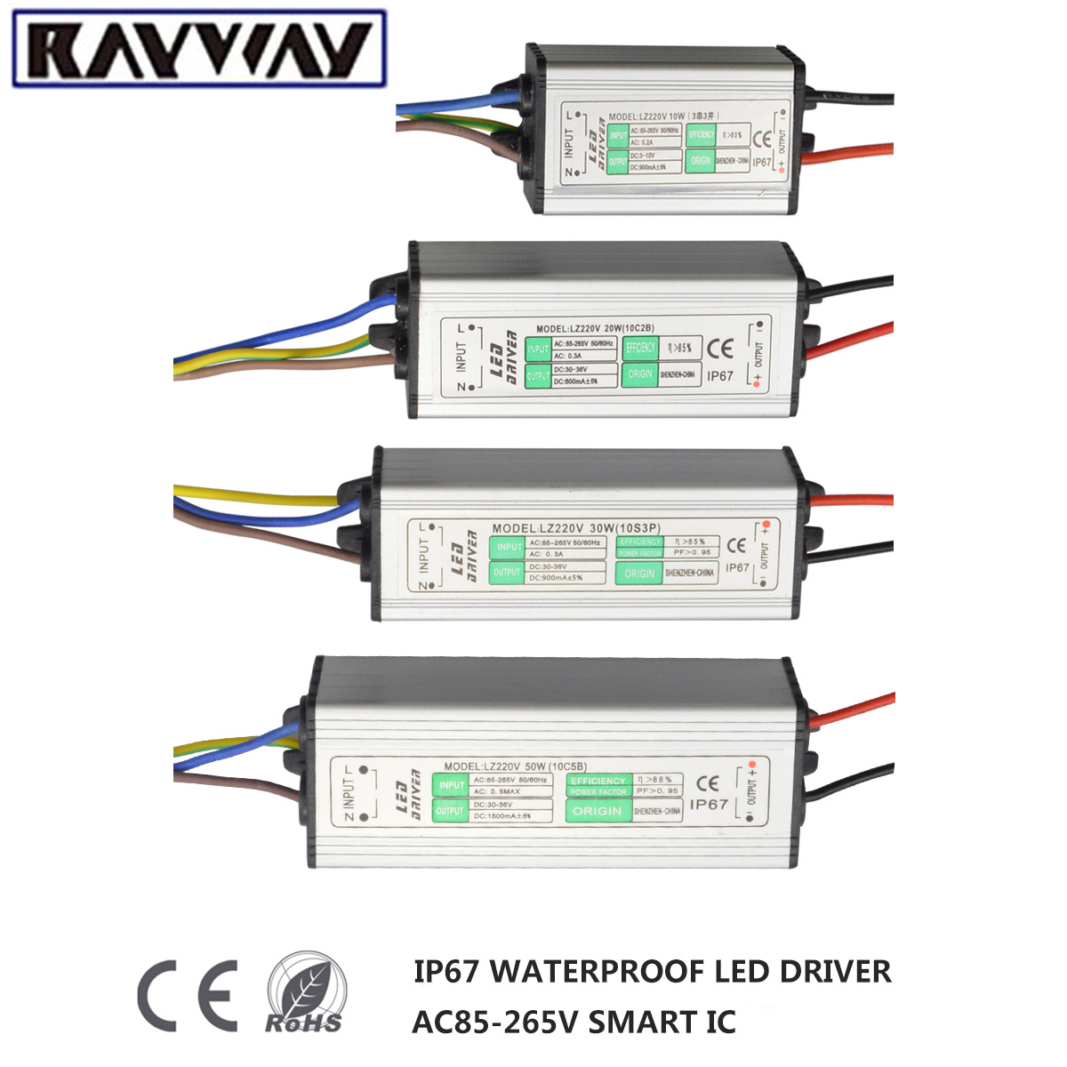 Power Supply LED Driver AC/DC 10w 20w 30w 50w IP67 Waterproof led adapter transformateur 220v for LED Strip Light Chip lamp