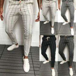 2020 новые стильные мужские облегающие полосатые деловые официальные брюки повседневные офисные брюки обтягивающие деловой строгий костюм ...