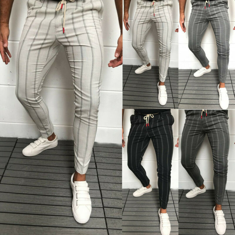 2020 New Stylish Men Slim Fit Stripe Business Formal Pants Casual Office Trousers Skinny Business Formal Suit Dress Pants