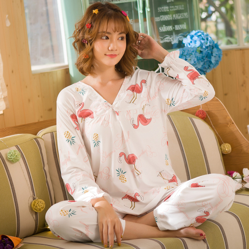 Long Sleeve Pajamas Women's Cartoon Flamingo Spring And Autumn Double-Sided Brushed Qmilch Home Wear V-neck Large Size Set