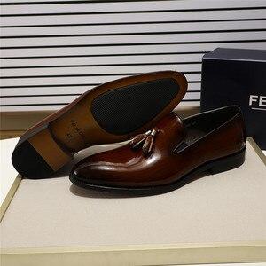 Image 2 - פליקס CHU פטנט עור גברים ציצית בטלן נעלי שחור חום להחליק על Mens שמלת נעלי חתונה נעליים רשמיות מסיבת גודל 39 46