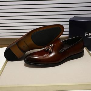 Image 2 - FELIX CHU 특허 가죽 남성 술 로퍼 신발 블랙 브라운 슬립 망 드레스 신발 웨딩 파티 공식 신발 크기 39 46