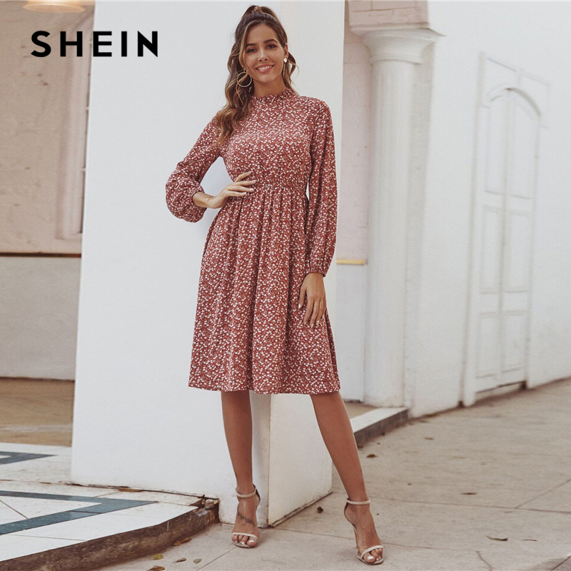 SHEIN Red Ditsy Floral Print Stand Collar Casual Dress Women 2020 Spring High Waist Bishop Sleeve A Line Frill Midi Dresses 3