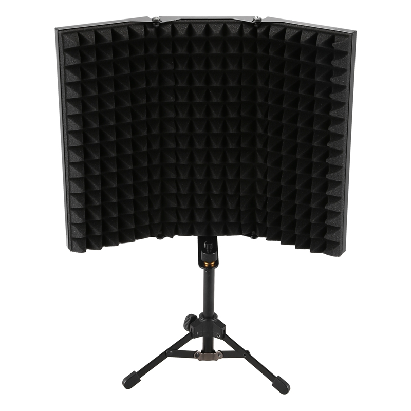 HFES Recording Sound Absorber Microphone Isolation Shield Anti-Noise 3-Fold Design High-Density Foam Panel, For Recording Equipm