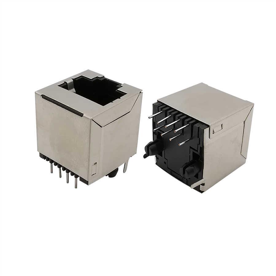 8Pcs/lot RJ8 Socket Connector RJ8 Network Cable Port Interface Straight  Pin 8P8C Crystal Head Seat Female Socket Metal Shell