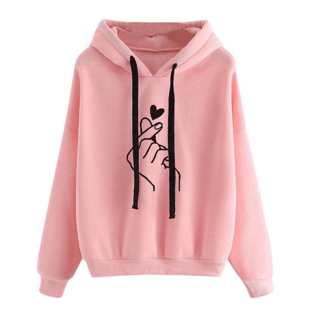 Preppy Harajuku Sweatshirt Hoodies Herz Geste Liebe Hoodie Paar Plus Größe Langarm Mit Kapuze Sweat Bluse Top Mantel Mäntel