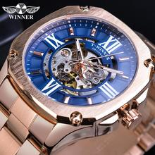 Winner Unique Blue Men Square Mechanical Watches Rose Gold Case Automatic Stainless Steel Strap Business Sports Male Watch Clock цена и фото