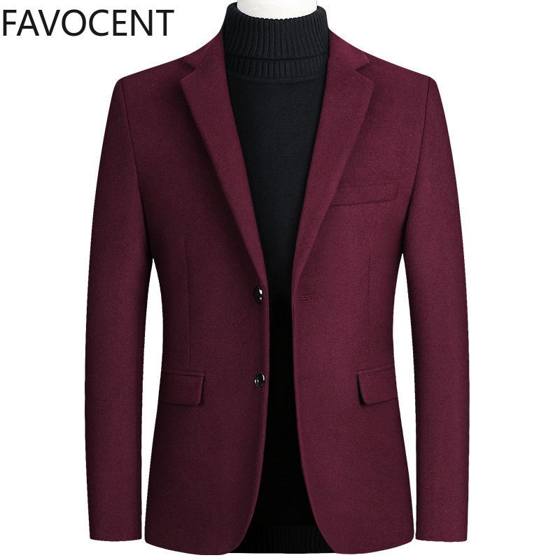 Fashion Mens Coats and Jackets Male One Piece Blazer Top Wool Blends Suit Men Jacket Spring Smart Casual Coat Solid Two Buttons