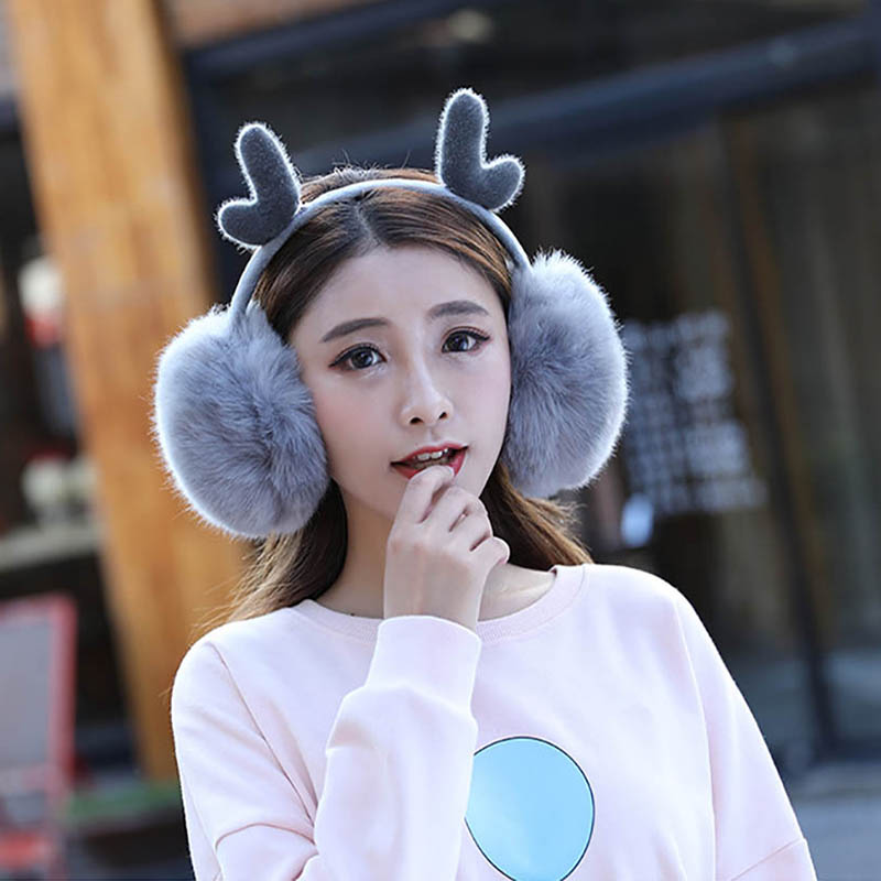 Calymel Fashion Unisex Women Warm Earmuffs Ear Novelty Cute Antlers Fur Winter Earmuffs Warmer Gift Super Soft Plush Ear Muff