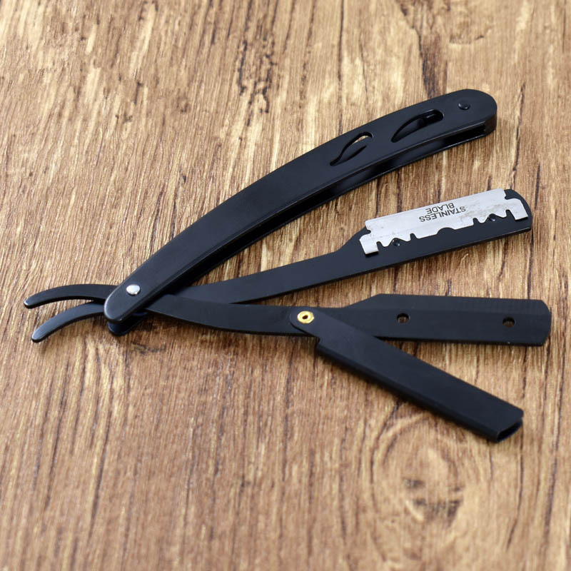 Men's Shaving Barber Tools Hair Razor Antique Black Folding Shaving Knife Stainless Steel Straight Razor Holder (No Blades)