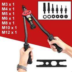 M3-M12 pistolas de remachado Juego de Herramientas de remachado de tuercas metálicas Kits de remaches de tuercas de tracción Manual doble Rivet Nutsert Kit de herramientas de accesorios de inserción