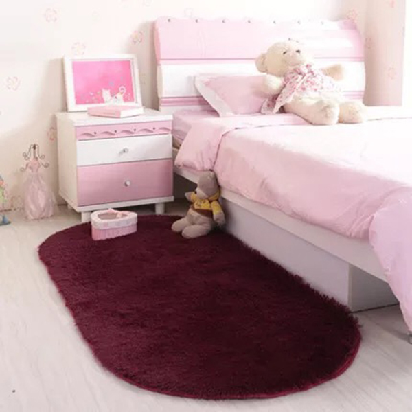 New Solid Color Oval Washable Floor Mats For Home Living Room Rug Bedroom Bed Front Blanket Coffee Table Blanket  DNJ998