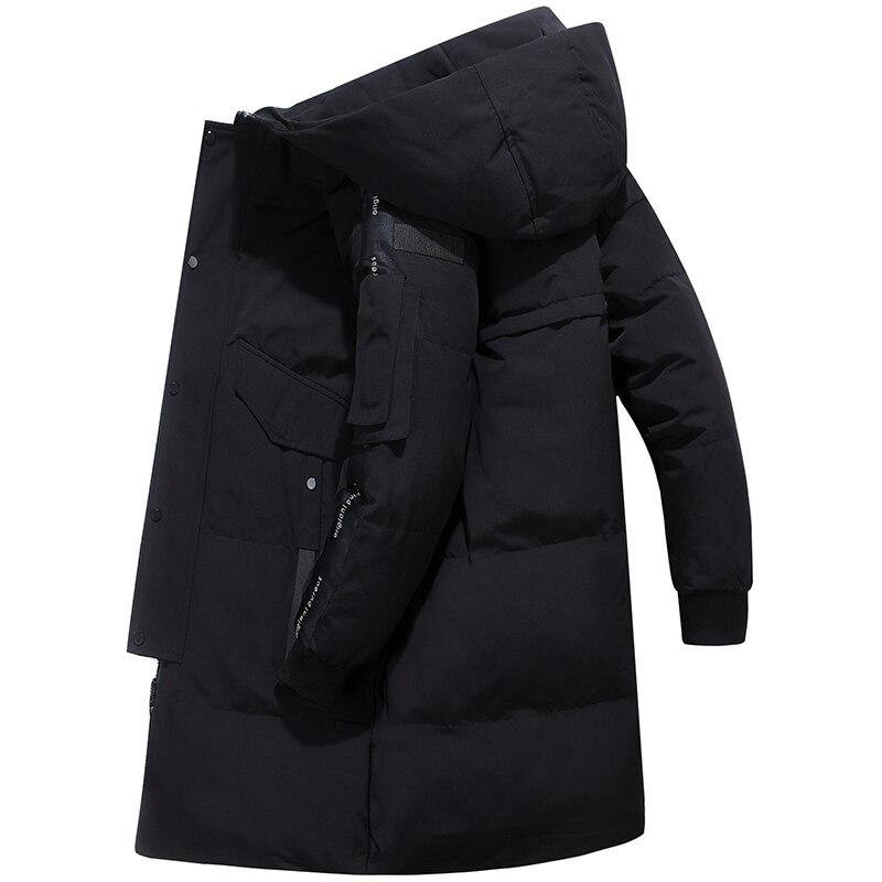 80% de pato branco para baixo jaqueta de neve com capuz para baixo parkas 30 graus rússia inverno para baixo jaqueta masculina moda grossa longo casaco - 5