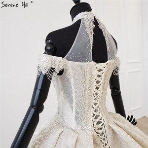 Image 5 - Champagne Halter sin mangas sexy vestido de novia 2020 con cordones de lujo lentejuelas vestido de novia HX0054 Cusotm hecho