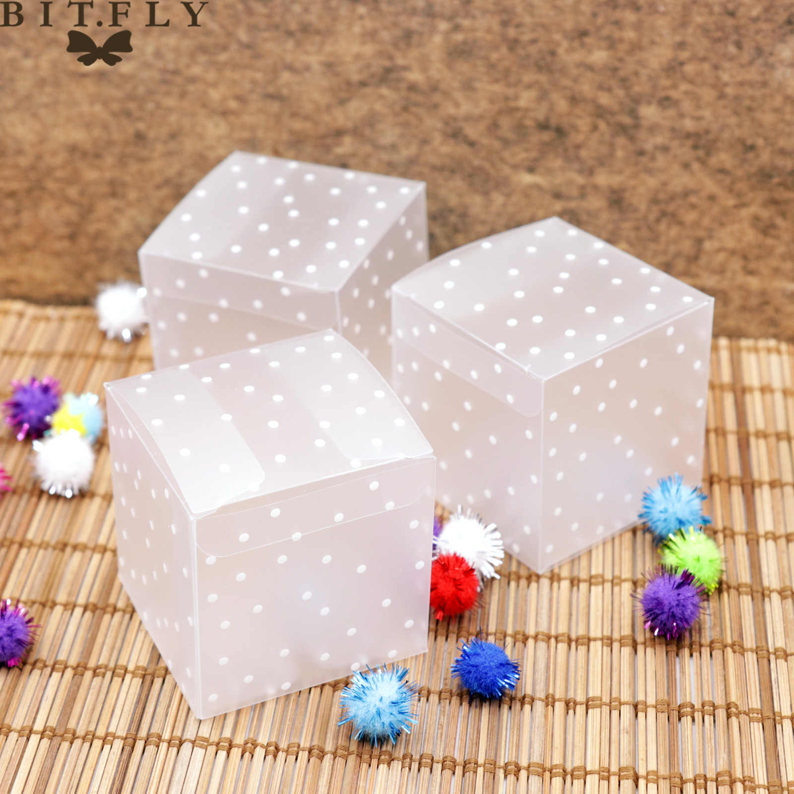 10pcs Square PVC Transparent Dot Candy Box Chocolate Snacks Sweet Gift Box Cube Wedding Favor Mariage Birthday Party Supply