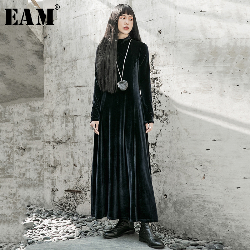 [EAM] Women Black Temperament Long Velvet Dress New Stand Collar Long Sleeve Loose Fit Fashion Tide Spring Autumn 2020 1R591