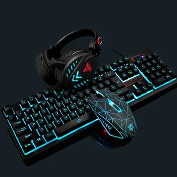 Gaming Keyboard Mouse Headsets Mouse Pad Set 1600DPI Waterproof Illuminated JR Deals 4