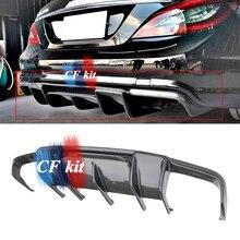 CF комплект заднего бампера для губ из настоящего углеродного волокна/стекловолокна для Mercedes-Benz W218 CLS350 CLS63 R стиль спойлер автомобильные Ароматические диффузоры