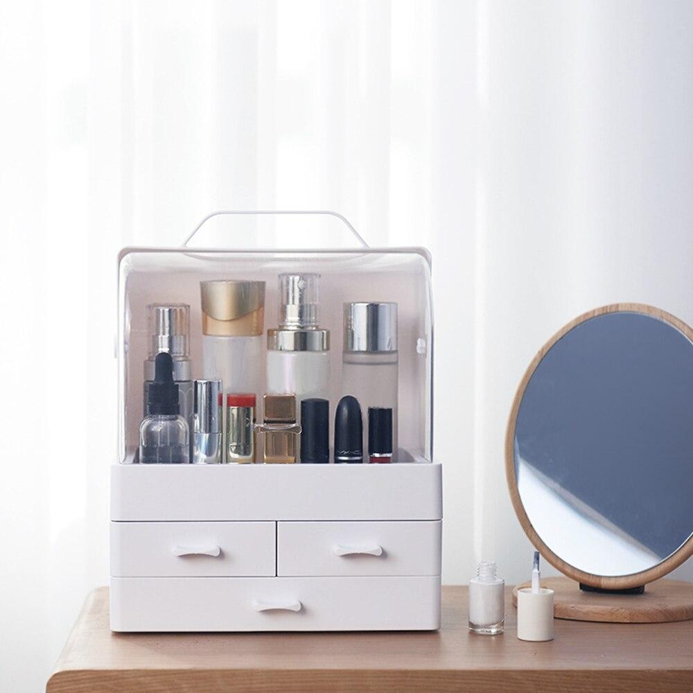 Small Desktop Makeup Organizer Cosmetic Storage Box With Dustproof Lid