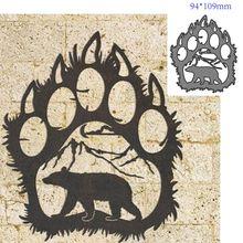 Corte de metal morre molde animal urso pata decoração scrapbook papel ofício faca molde lâmina punch stencils