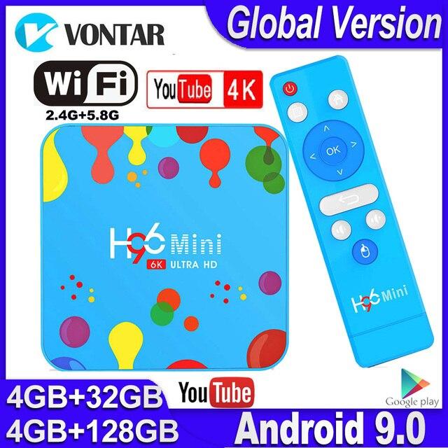 Mini TV Box H96 con Android, TV Box con 4GB de RAM, 128GB de ROM, dispositivo de TV inteligente, Android 9,0, H96mini, Allwinner H6, 2,4/5G, wi fi, compatible con Youtube, 4K