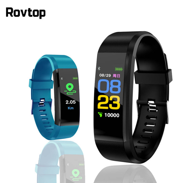 Rovtop 115 בתוספת חכם צמיד לחץ דם שעון גשש כושר קצב לב צג להקת חכם פעילות Tracker צמיד